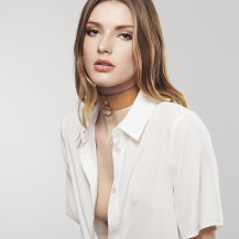 MAZE Wide Choker with leash Vegan Leather by Bijoux Indiscrets