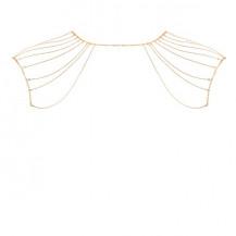 Magnifique · Metallic chain shoulders & back jewelry gold