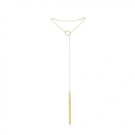 Magnifique collar metálico con flecos - Dorado
