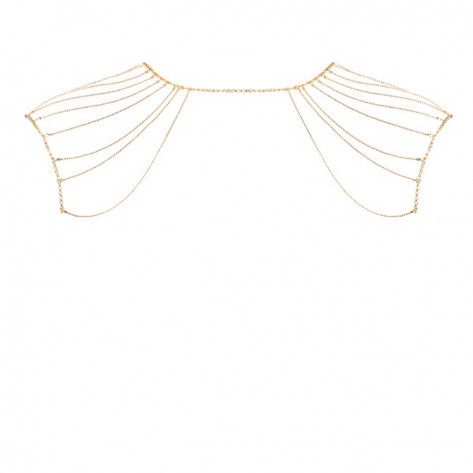 Magnifique · Metallic chain shoulders & back jewelry gold