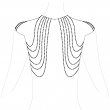 Metallic chain shoulders and back jewelry silver by Bijoux Indiscrets