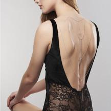 Magnifique cadenas metálicas para espalda y escote- Plateado